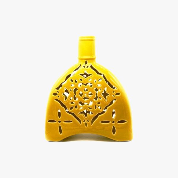 Florero amarillo estilo colonial ovalado