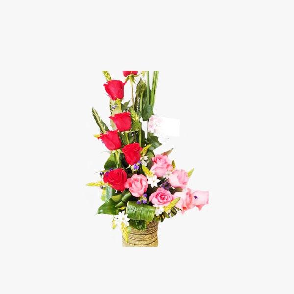 Arreglo de Rosas Rojas con Rosas Pink-Love