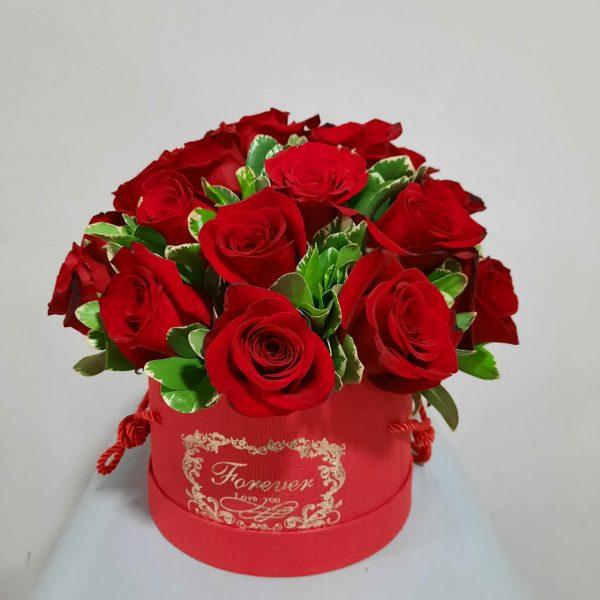 Arreglo redondo de 24 rosas