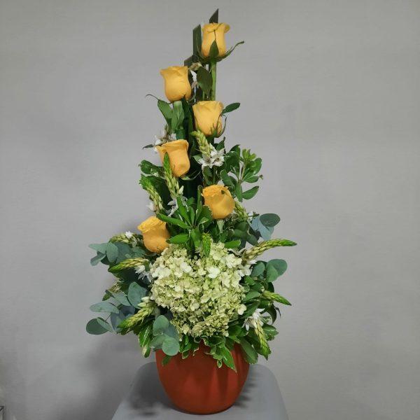Arreglo de 6 Rosas Amarillas